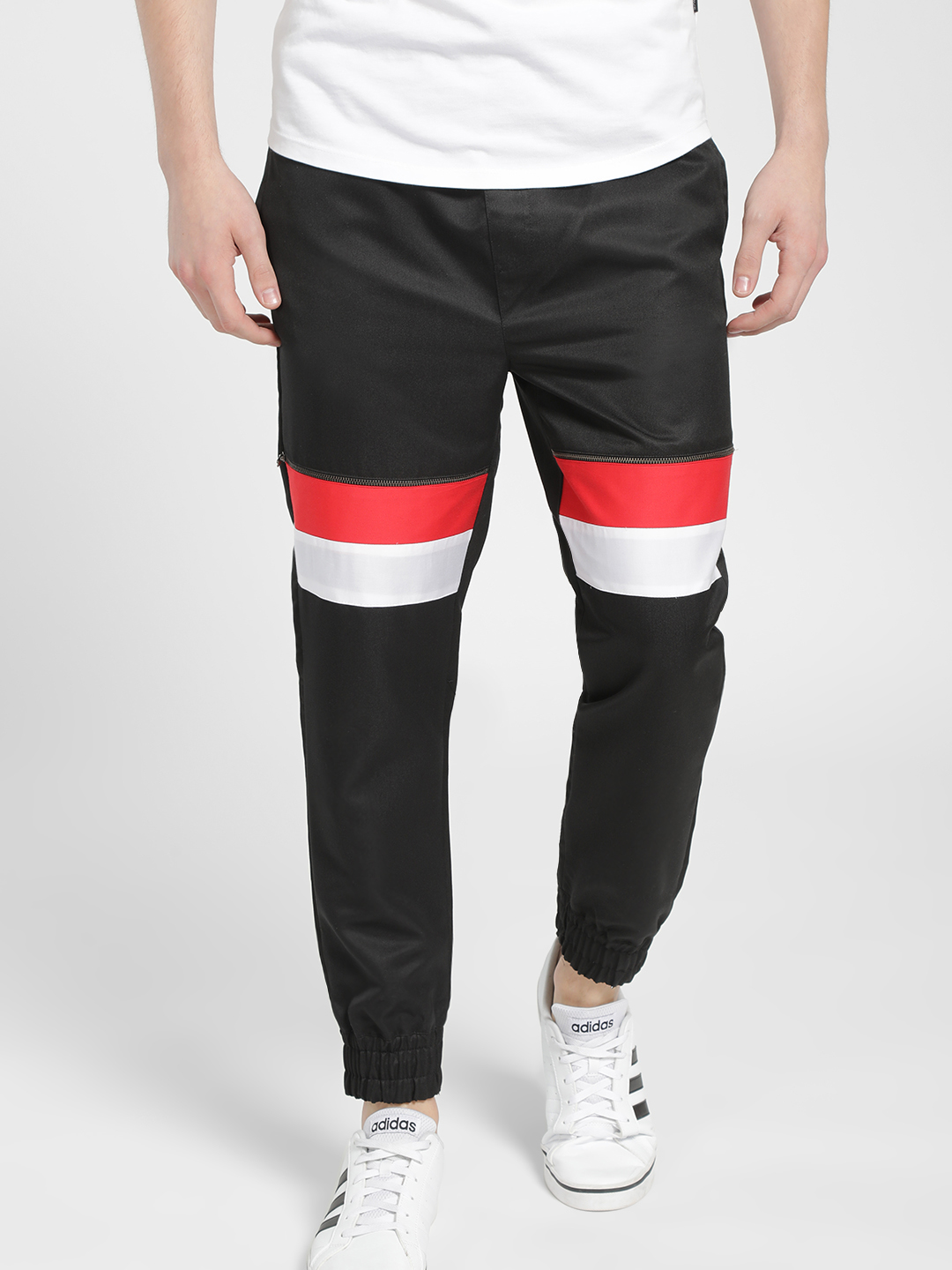 KOOVS Black Colour Block Zipper Detail Joggers 1