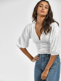 Ri-Dress Broderie Back Tie-Up Crop Top