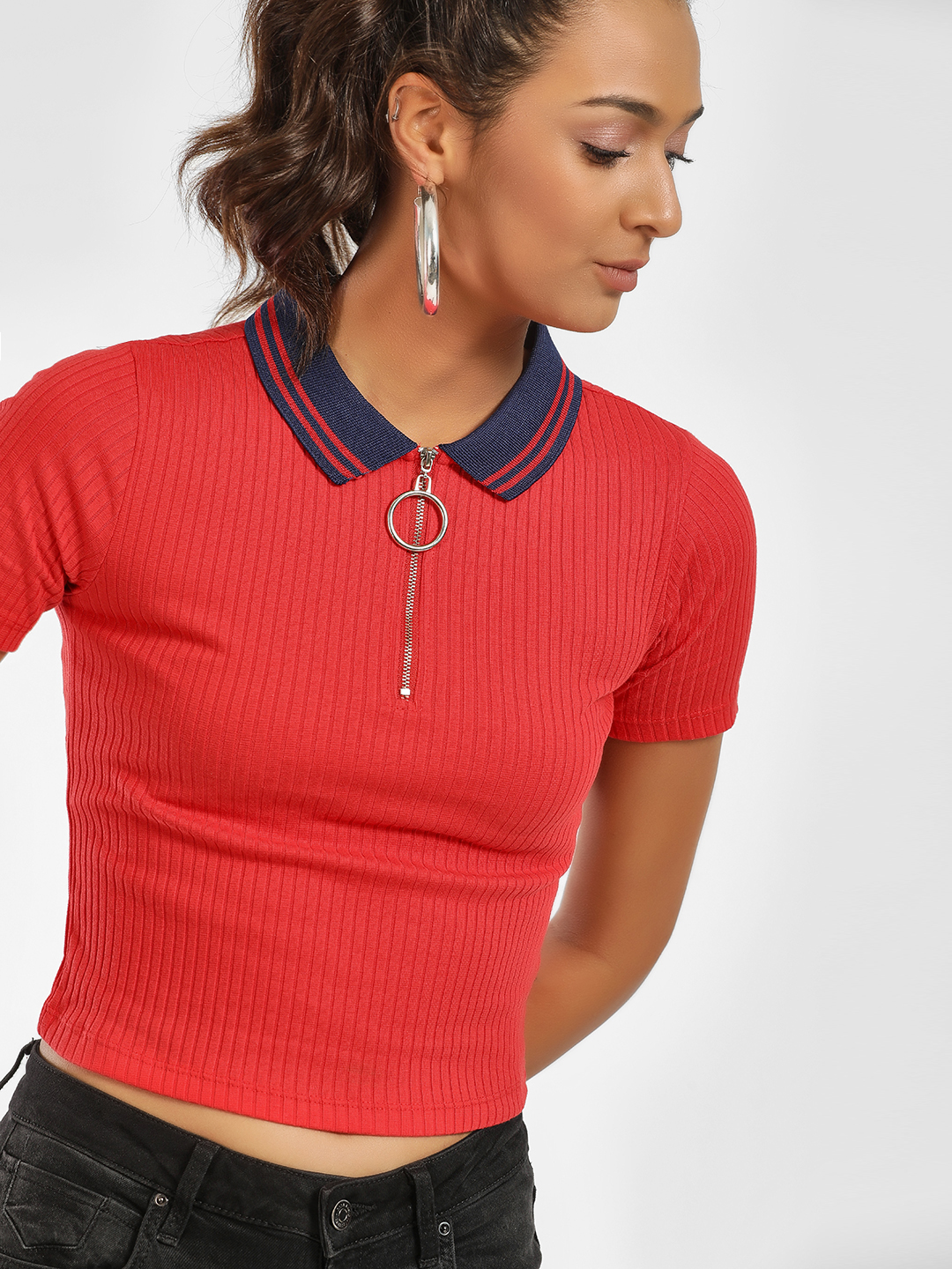 KOOVS Red Ribbed Zip-Up Crop Polo T-Shirt 1