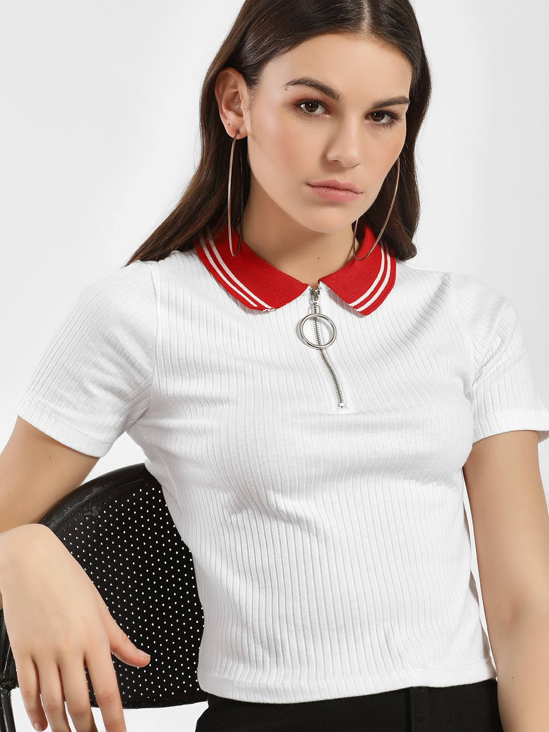KOOVS White Ribbed Zip-Up Crop Polo T-Shirt 1