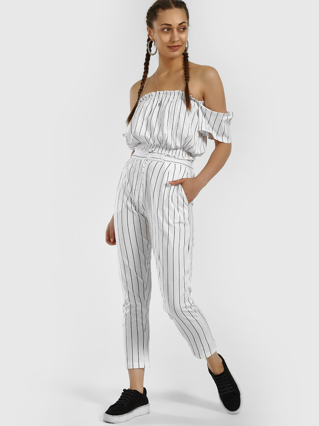Spring Break White Striped Paperbag Cropped Trousers 1