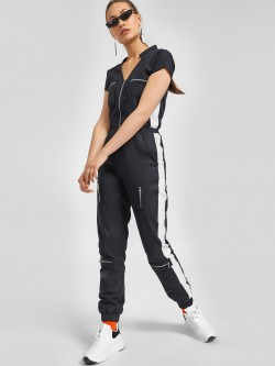 KOOVS Mandarin Collar Side Tape Jumpsuit