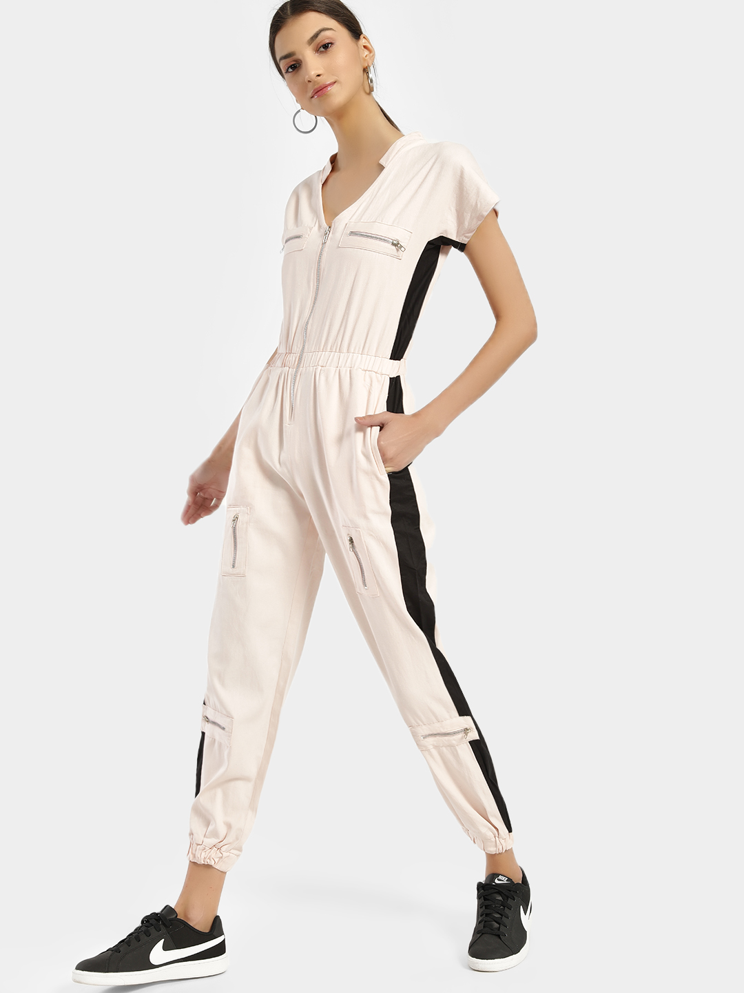 KOOVS Pink Colour Block Denim Jumpsuit 1