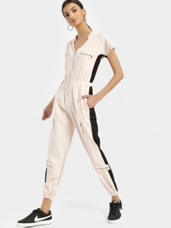 KOOVS Colour Block Denim Jumpsuit