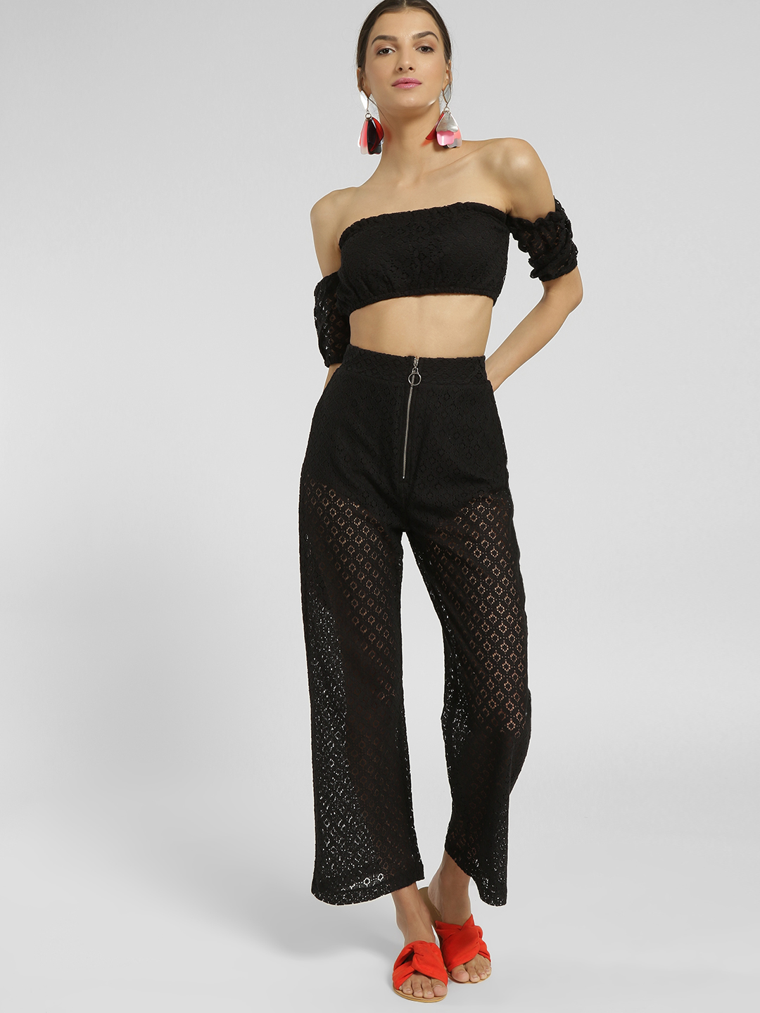 KOOVS Black Zip-Up Lace Trousers 1