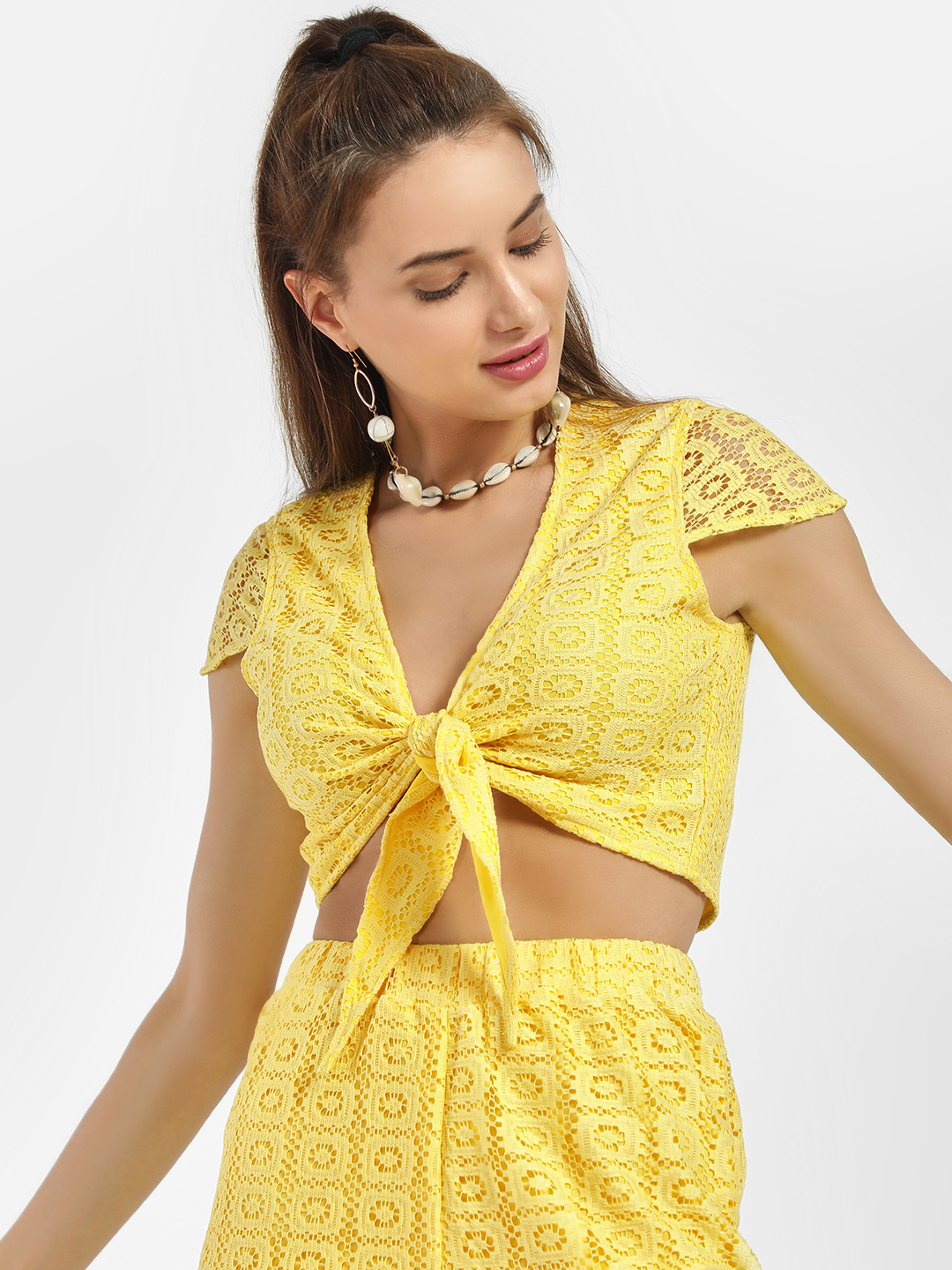 KOOVS Yellow Lace Front Knot Crop Top 1