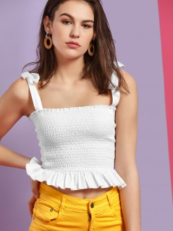 KOOVS Smocked Peplum Crop Top
