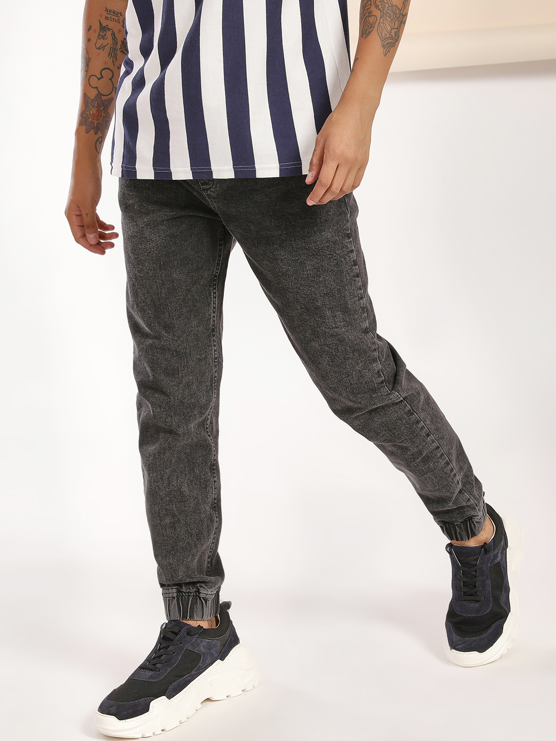 Blue Saint Grey Acid Wash Denim Joggers 1