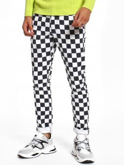 Blue Saint Checkerboard Print Slim Jeans