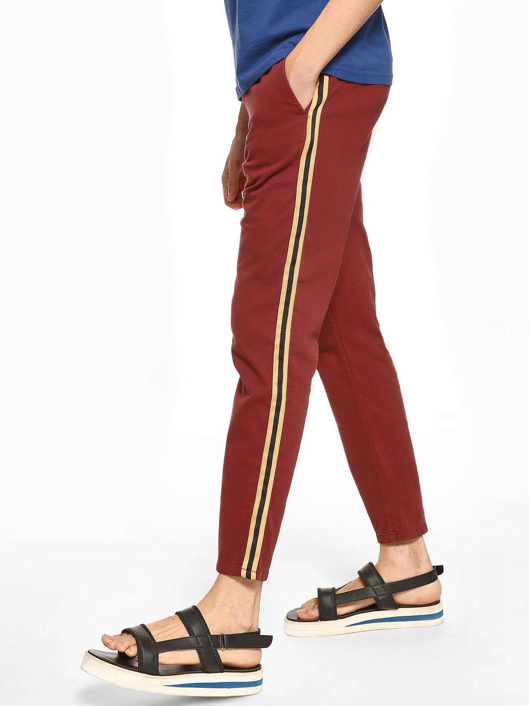 Blue Saint Red Contrast Side Tape Drawcord Trousers 1