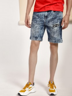 Blue Saint Stonewash Distressed Patch Denim Shorts