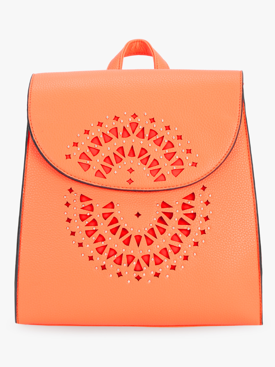 Koko Fashion Orange Laser Cut Studded Backpack 1