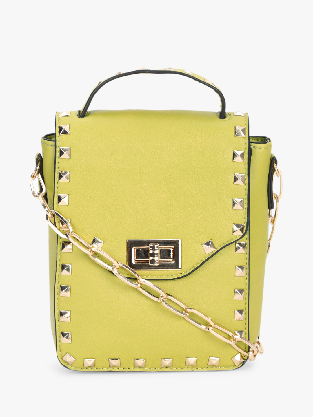 Koko Fashion Yellow Stud Embellished Mini Sling Bag 1