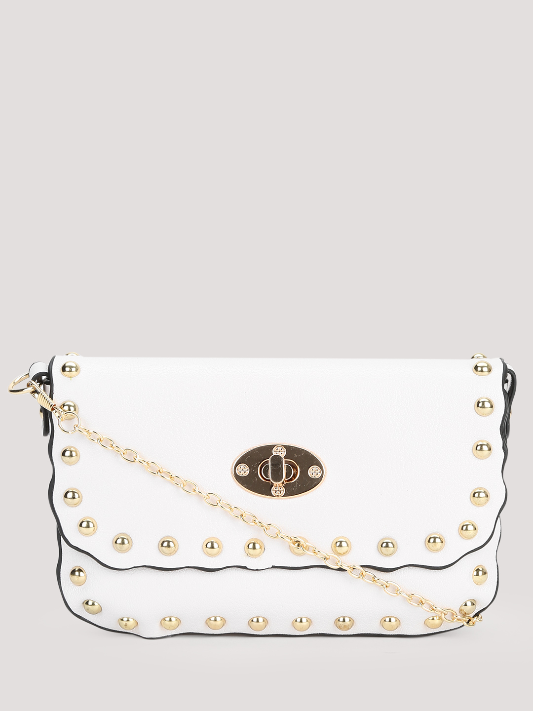 Koko Fashion White Stud Embellished Purse Sling Bag 1