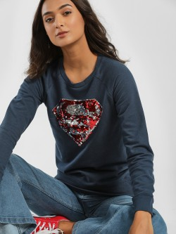 Free Authority Sequin Embellished Superman Logo Sweatshirt