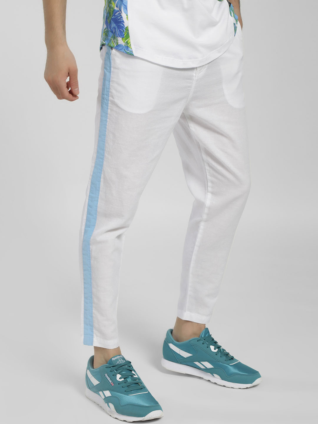 Spring Break White Side Tape Linen Trousers 1