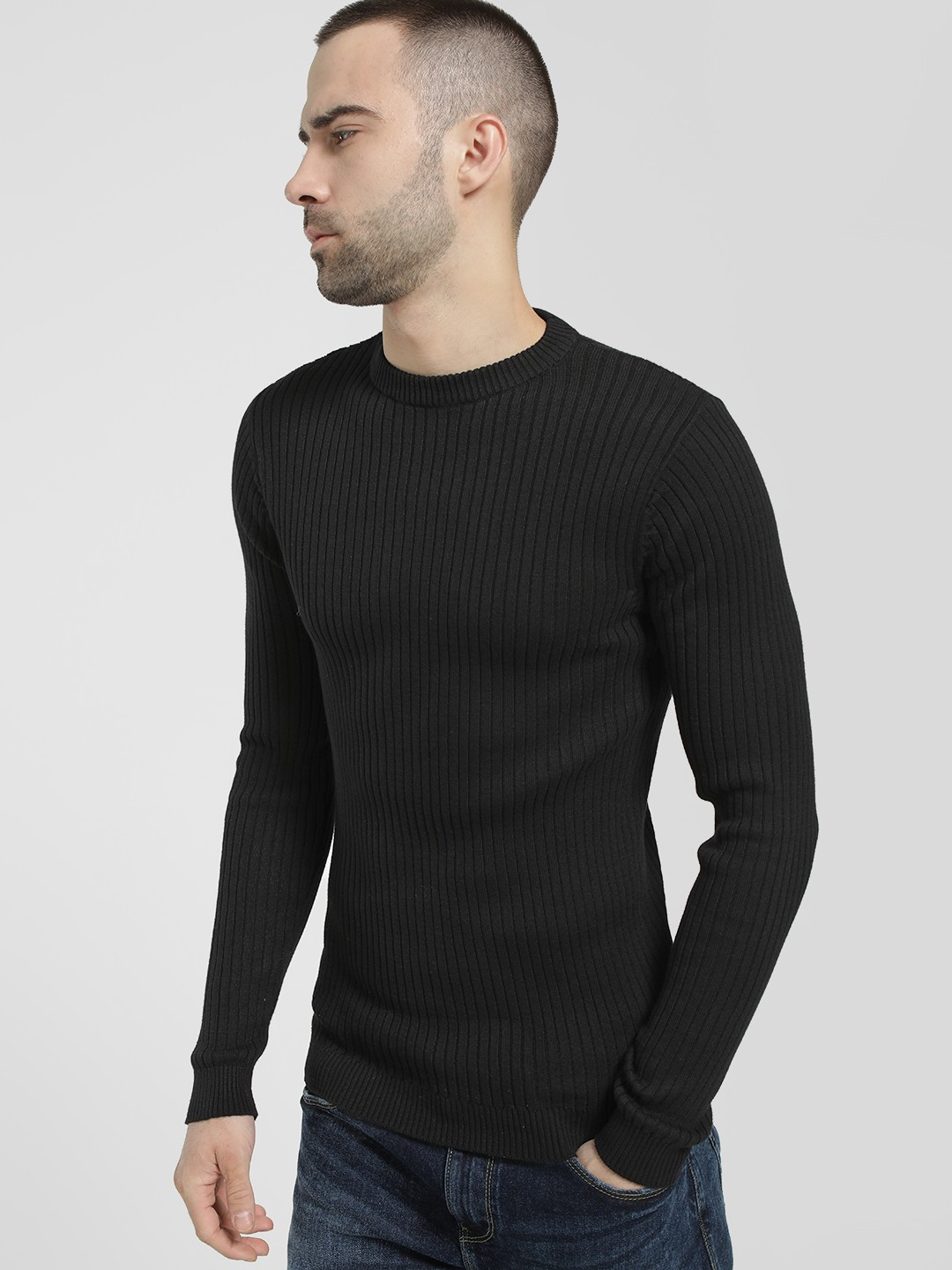 KOOVS Black Ribbed Crew Neck Pullover 1