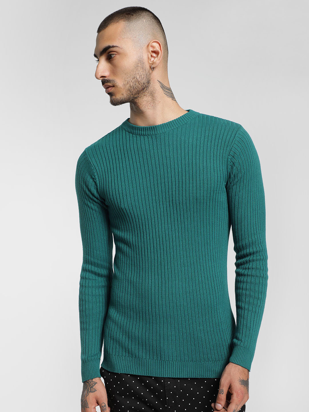 KOOVS Teal Green Ribbed Crew Neck Pullover 1