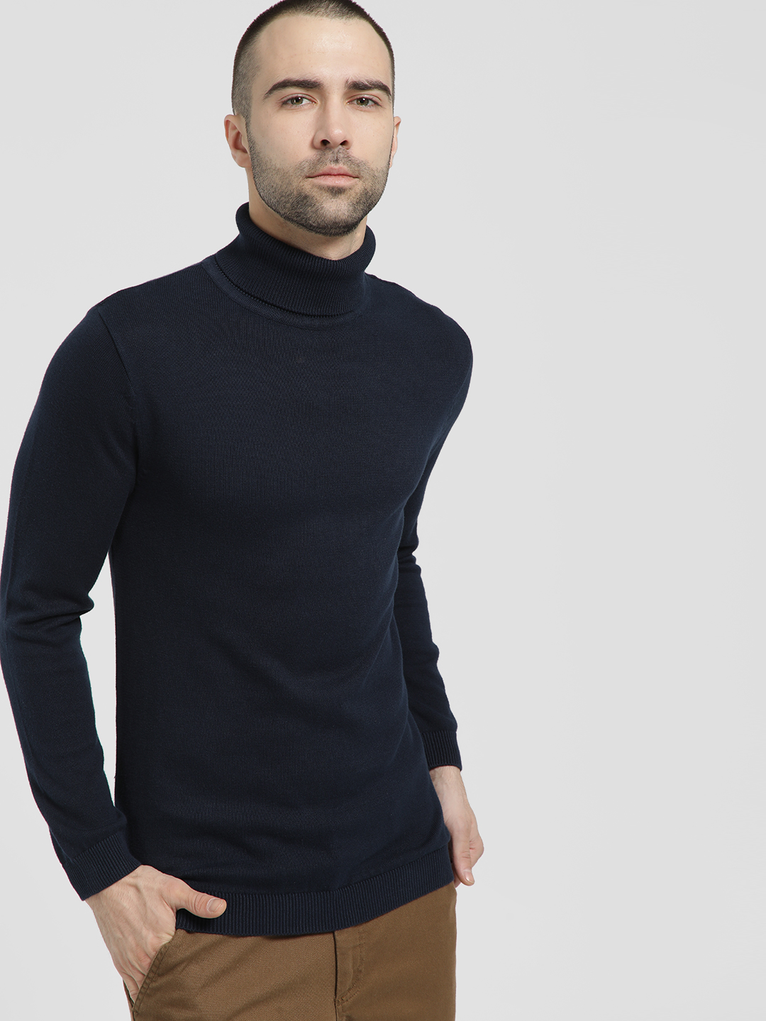 KOOVS Navy Rolled High Neck Pullover 1