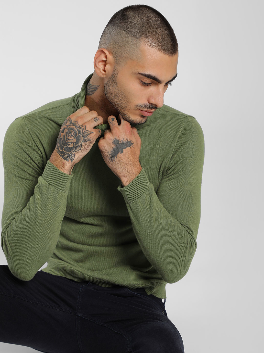 KOOVS Green Rolled High Neck Pullover 1