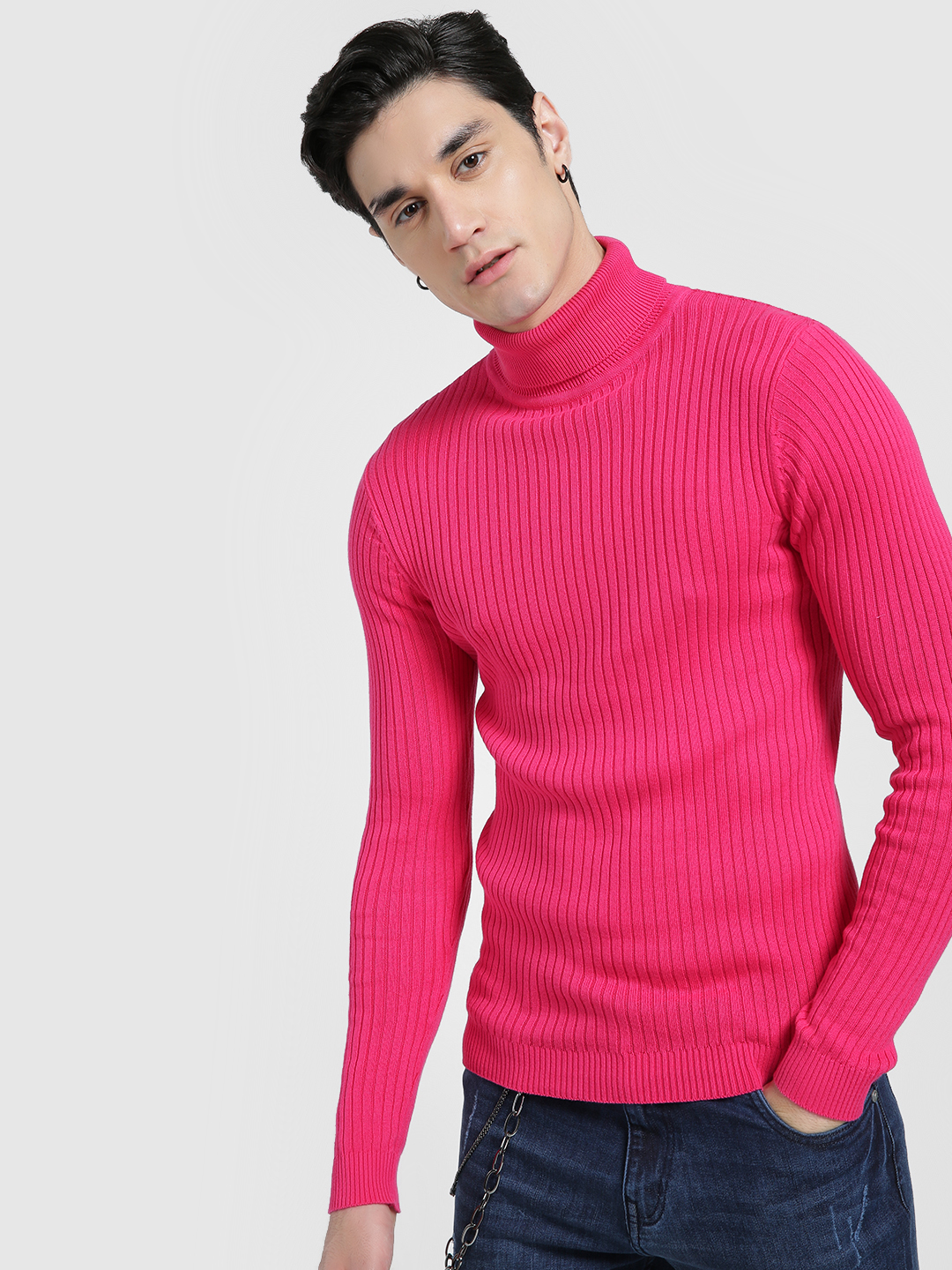 KOOVS Pink Ribbed Turtle Neck Pullover 1