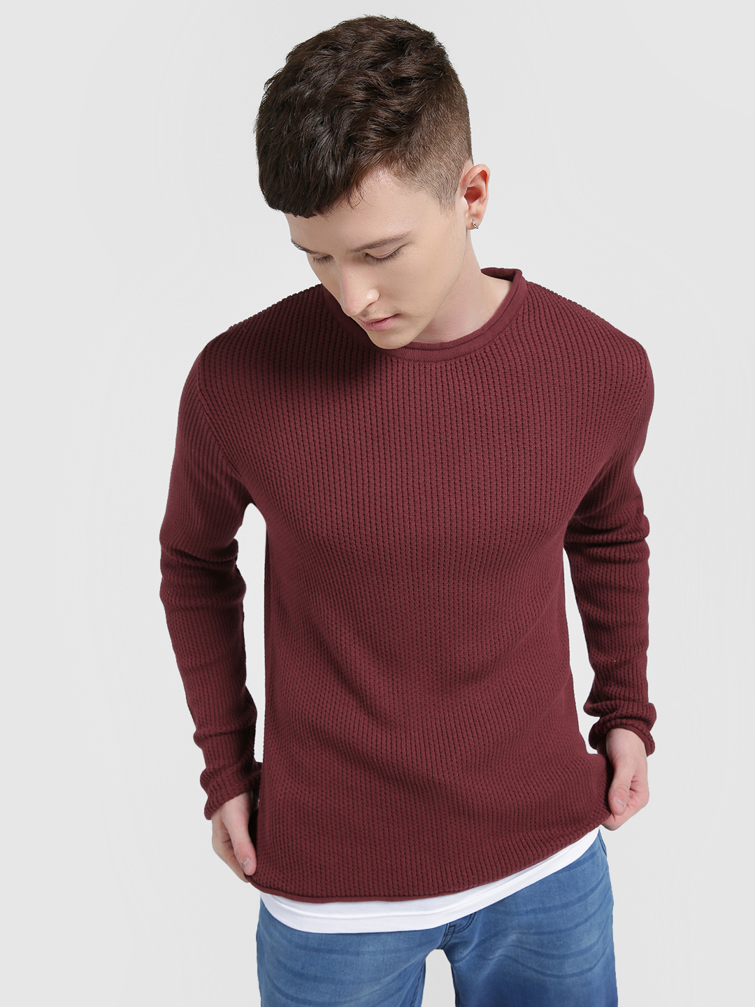 KOOVS Maroon Layered Hem Loose Knit Pullover 1