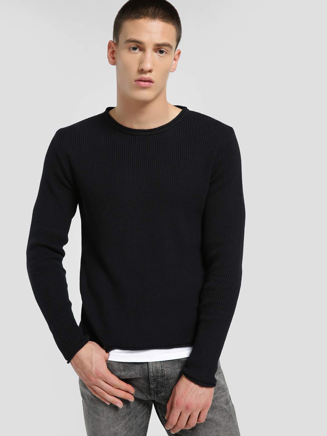 KOOVS Black Layered Hem Loose Knit Pullover 1