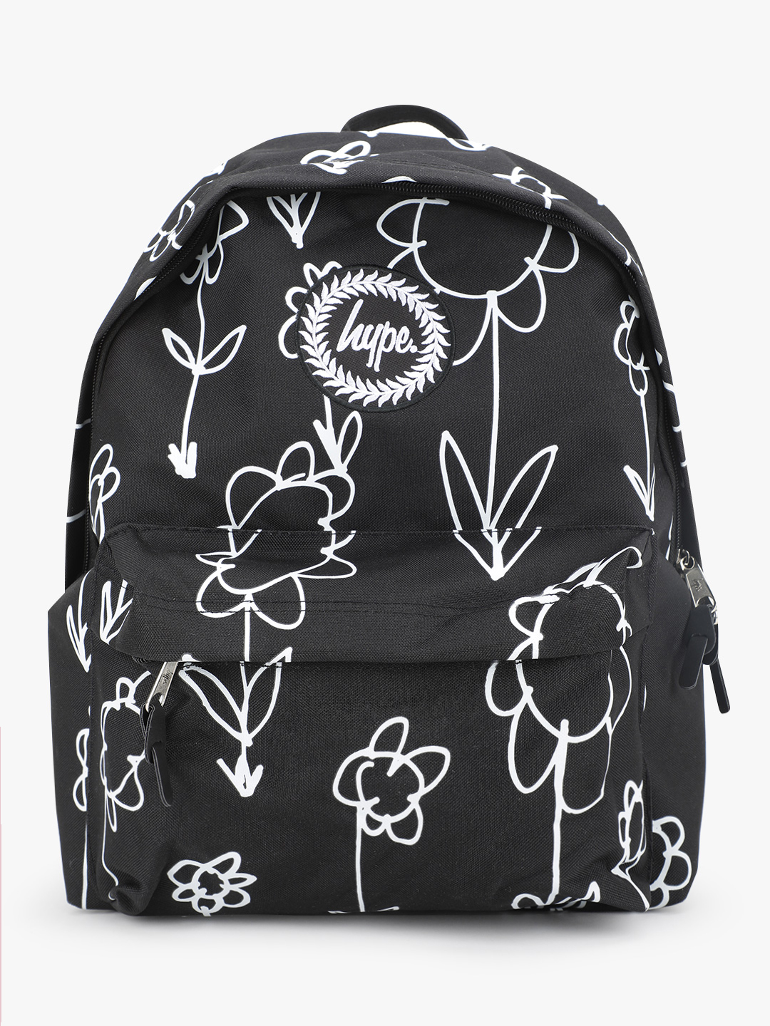 Hype Black Hand-Drawn Flower Print Backpack 1