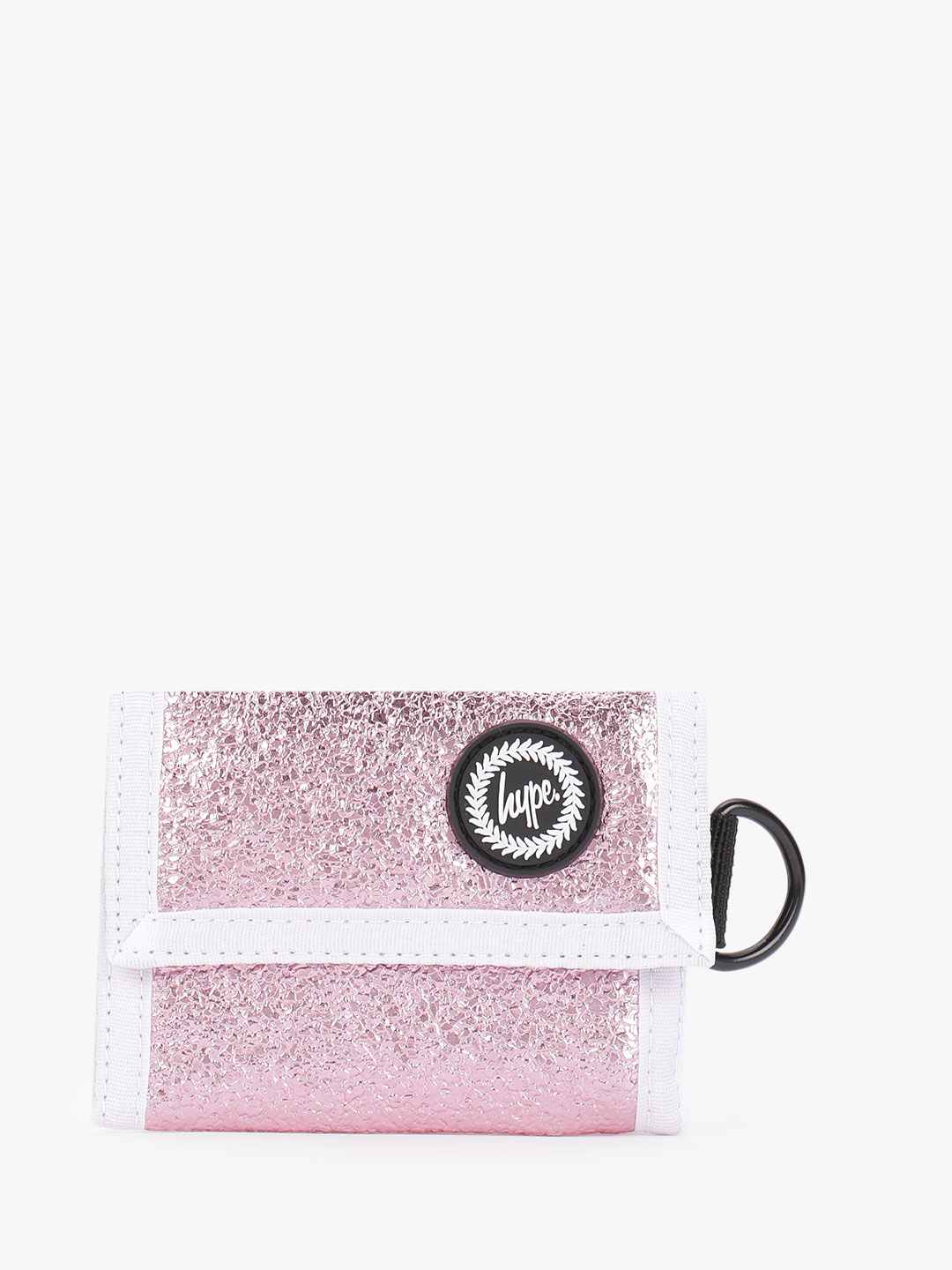 Hype Pink Crinkle Foil Trifold Wallet 1