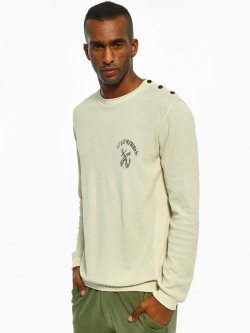 Akiva Shoulder Button Textured Pullover