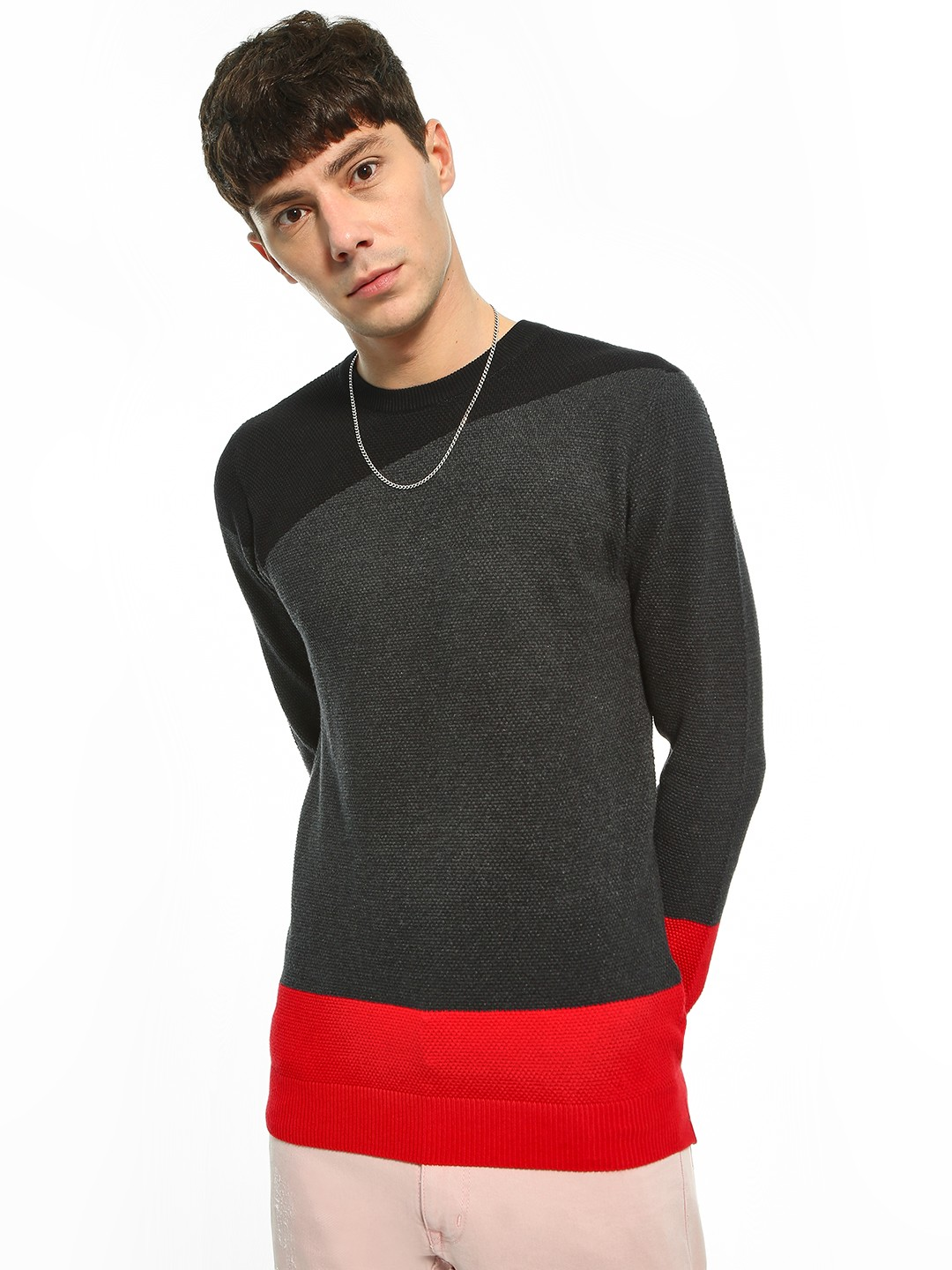 Akiva Grey Colour Block Longline Pullover 1