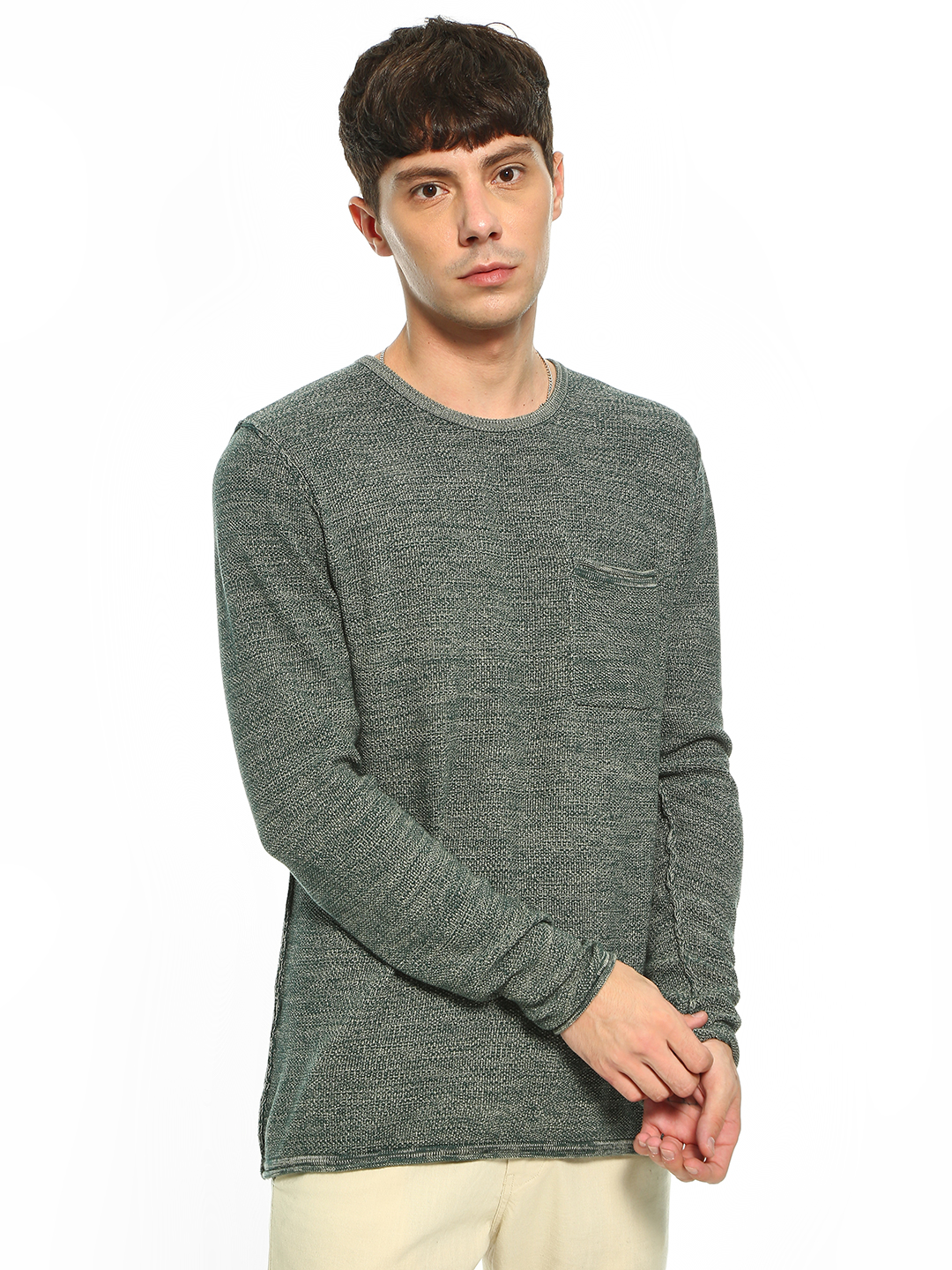 Akiva Green Two-Tone Crew Neck Pullover 1
