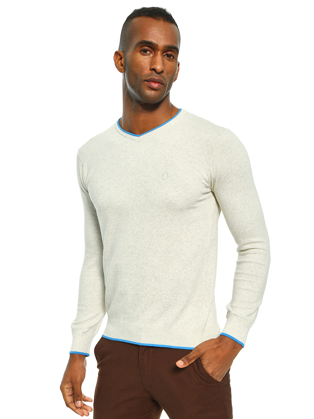 Akiva Grey Contrast Tipped V-Neck Pullover 1