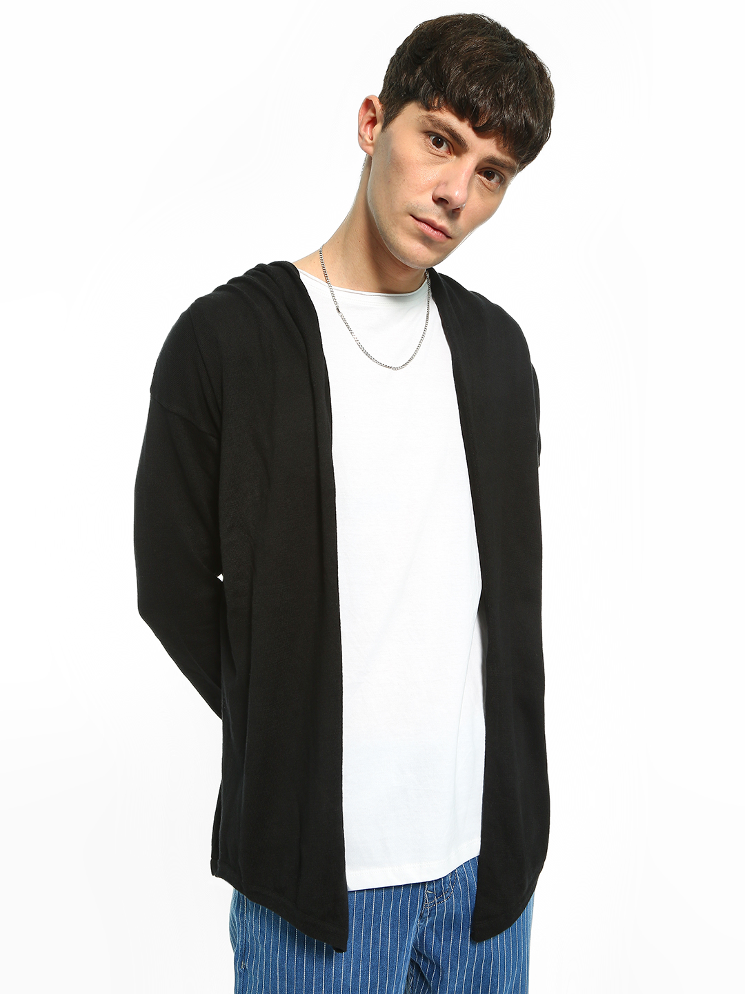Akiva Black Front Open Hooded Cardigan 1