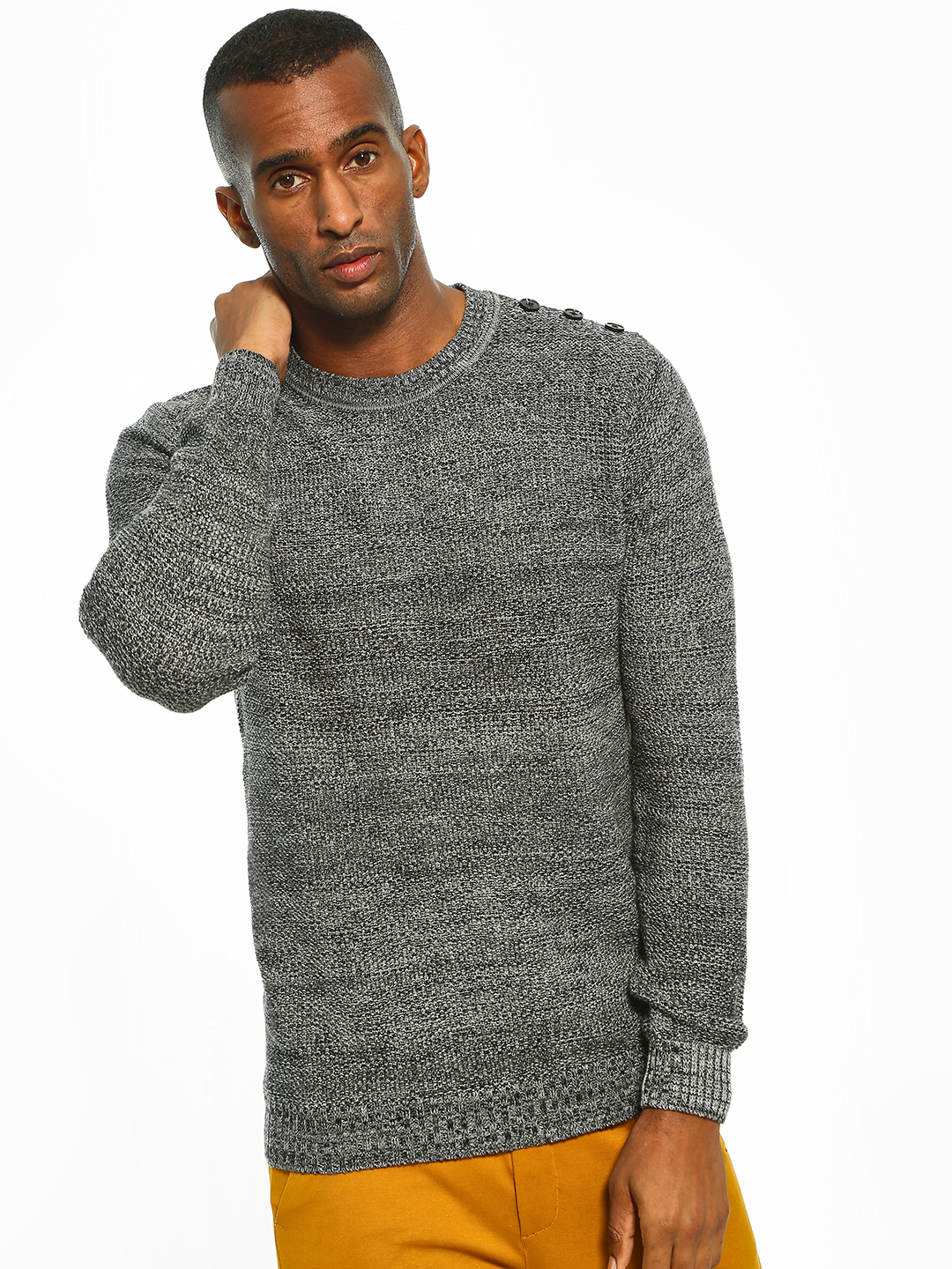 Akiva Grey Shoulder Button Two-Tone Textured Pullover 1