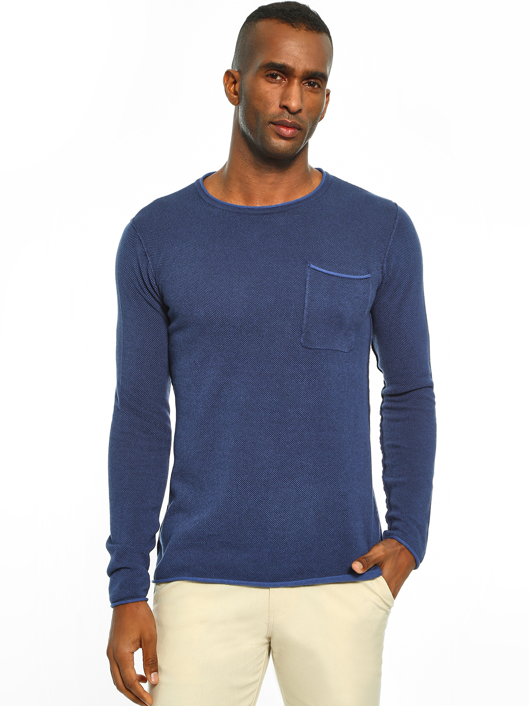 Akiva Blue Patch Pocket Crew Neck Pullover 1