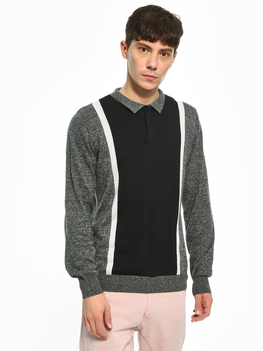 Akiva Multi Colour Block Collared Pullover 1