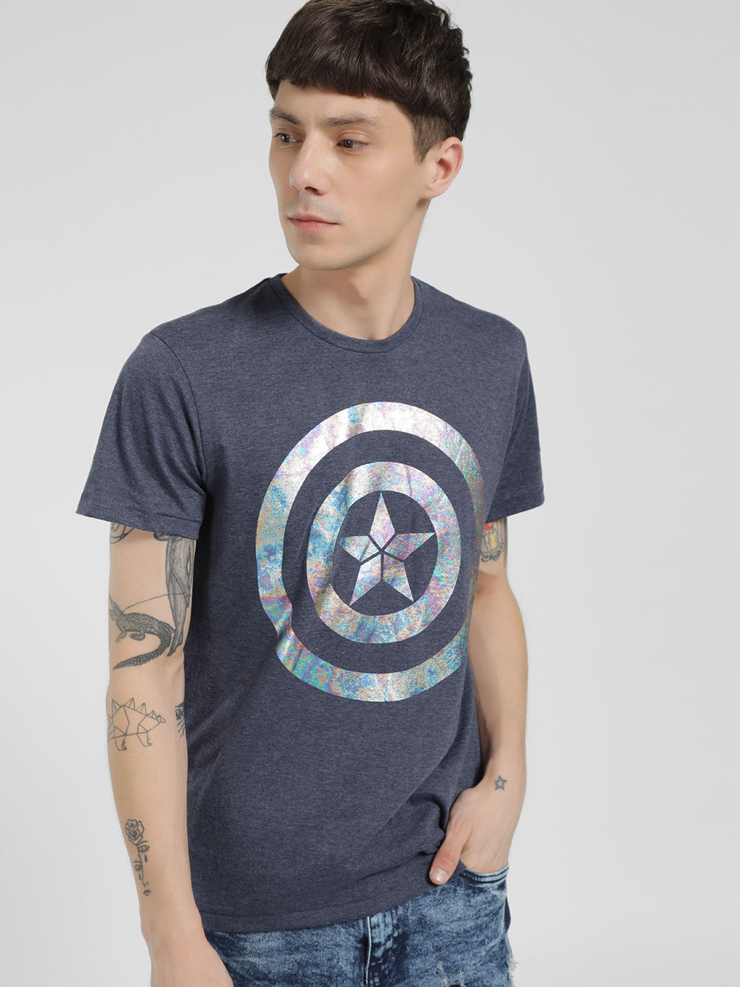 Free Authority Blue Captain America Logo Short Sleeve T-Shirt 1