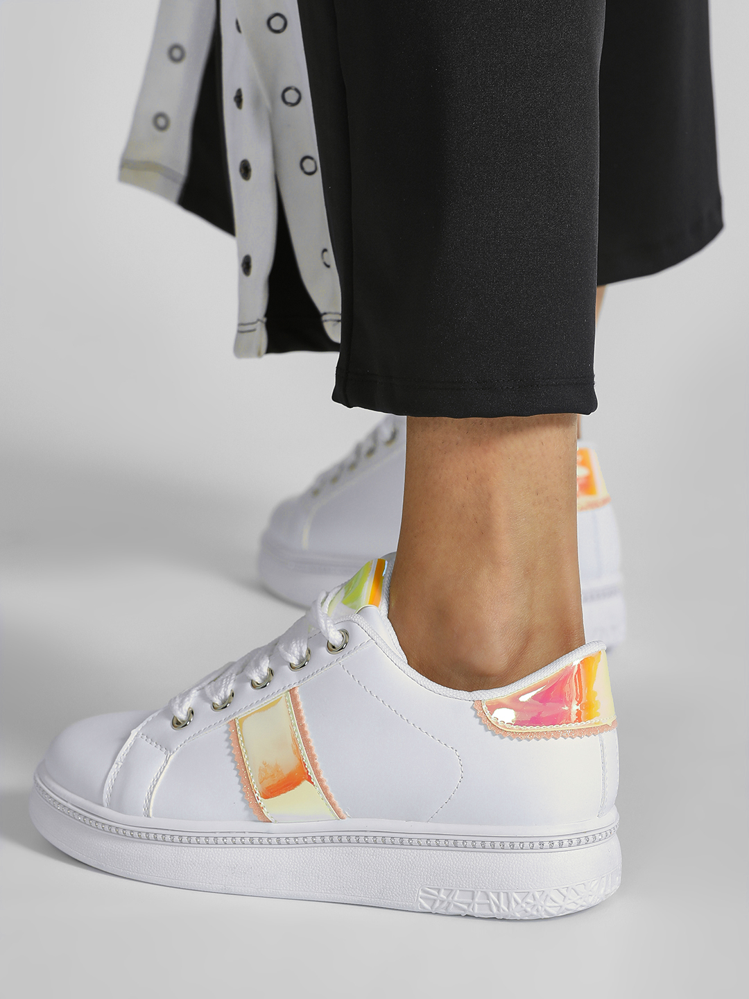 Core Shoes WHITE PINK Embellished Holographic Detail Sneakers 1