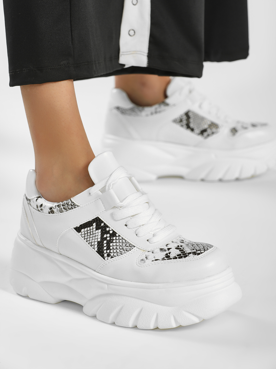 Core Shoes White Snake Print Chunky Sole Trainers 1