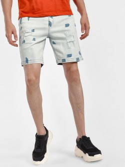 Blue Saint Bleach Wash Denim Shorts
