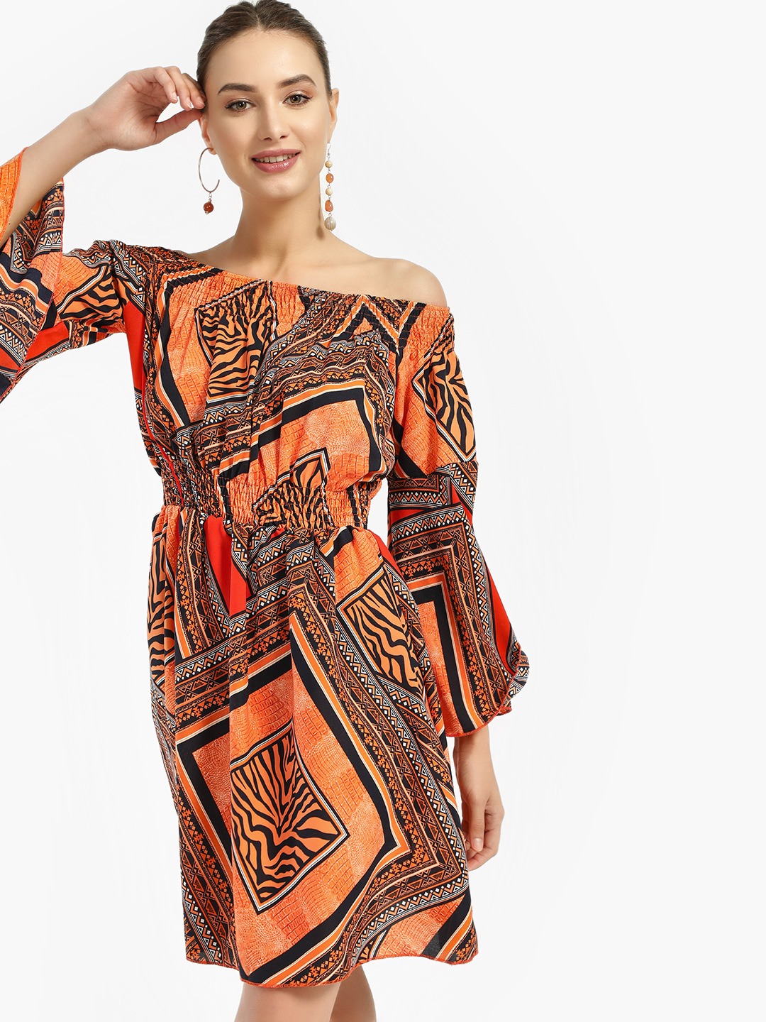 Missi Clothing Orange Aztec Print Off-Shoulder Dress 1
