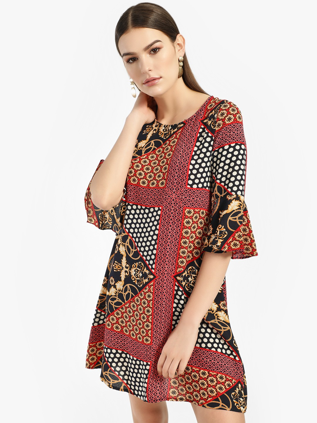 Missi Clothing Multi Scarf Print Shift Dress 1