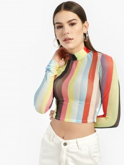 Missi Clothing Stripe Mesh High Neck Crop Top