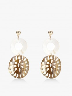 Blueberry Concentric Ring Shell Earrings