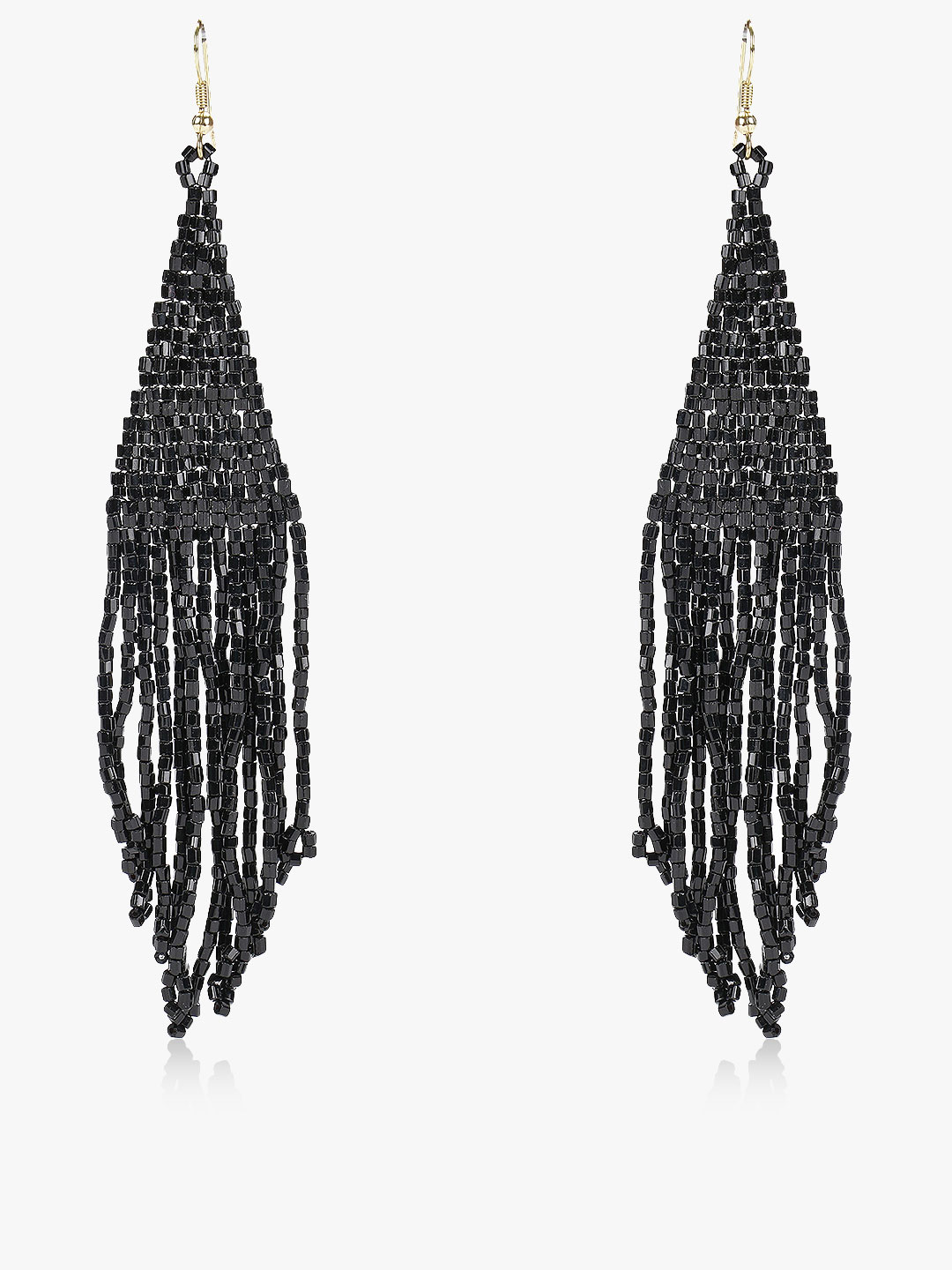 Blueberry Black Beaded Tassel Drop Earrings 1