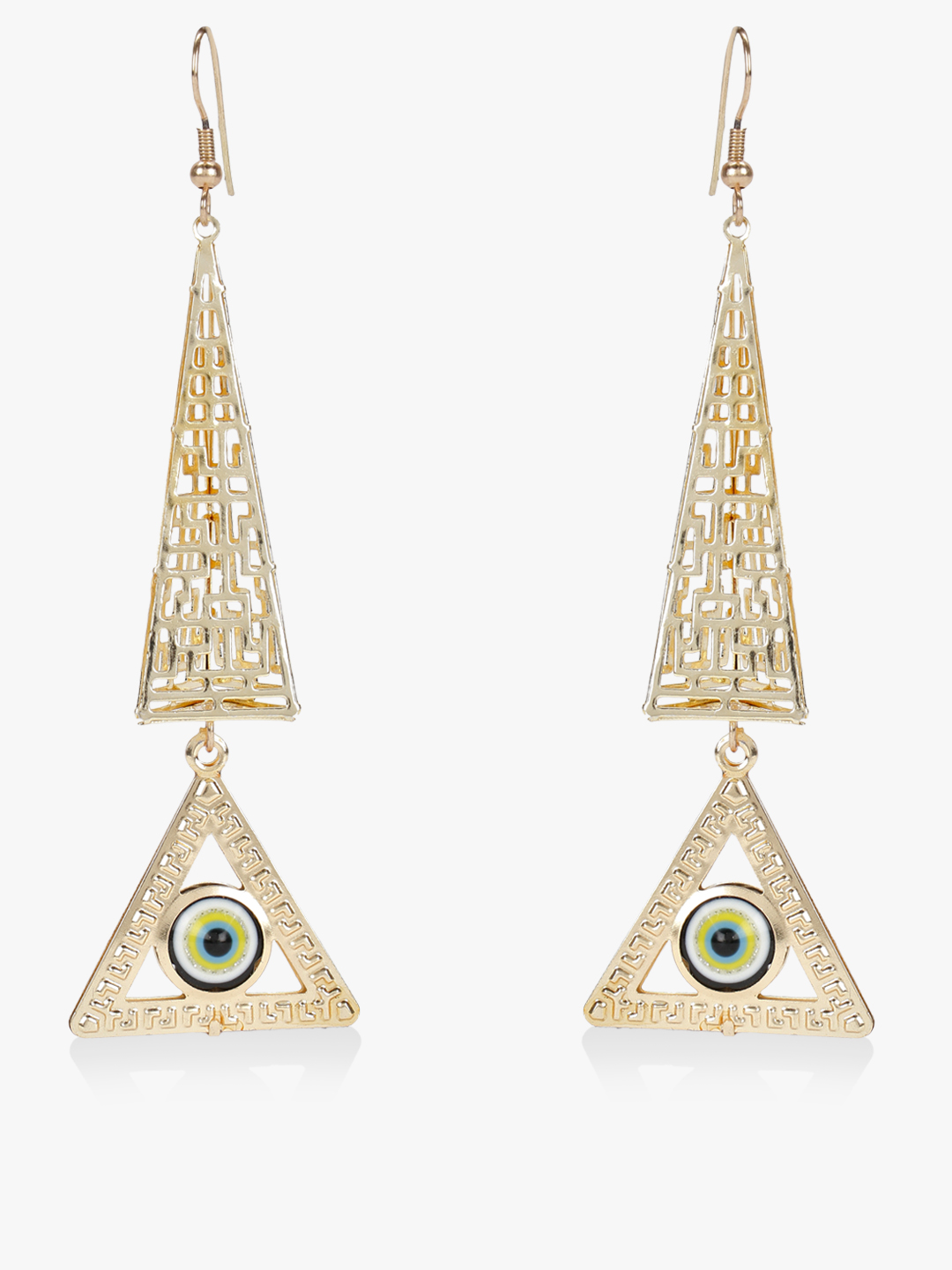 Blueberry Gold Evil Eye Geometric Earrings 1