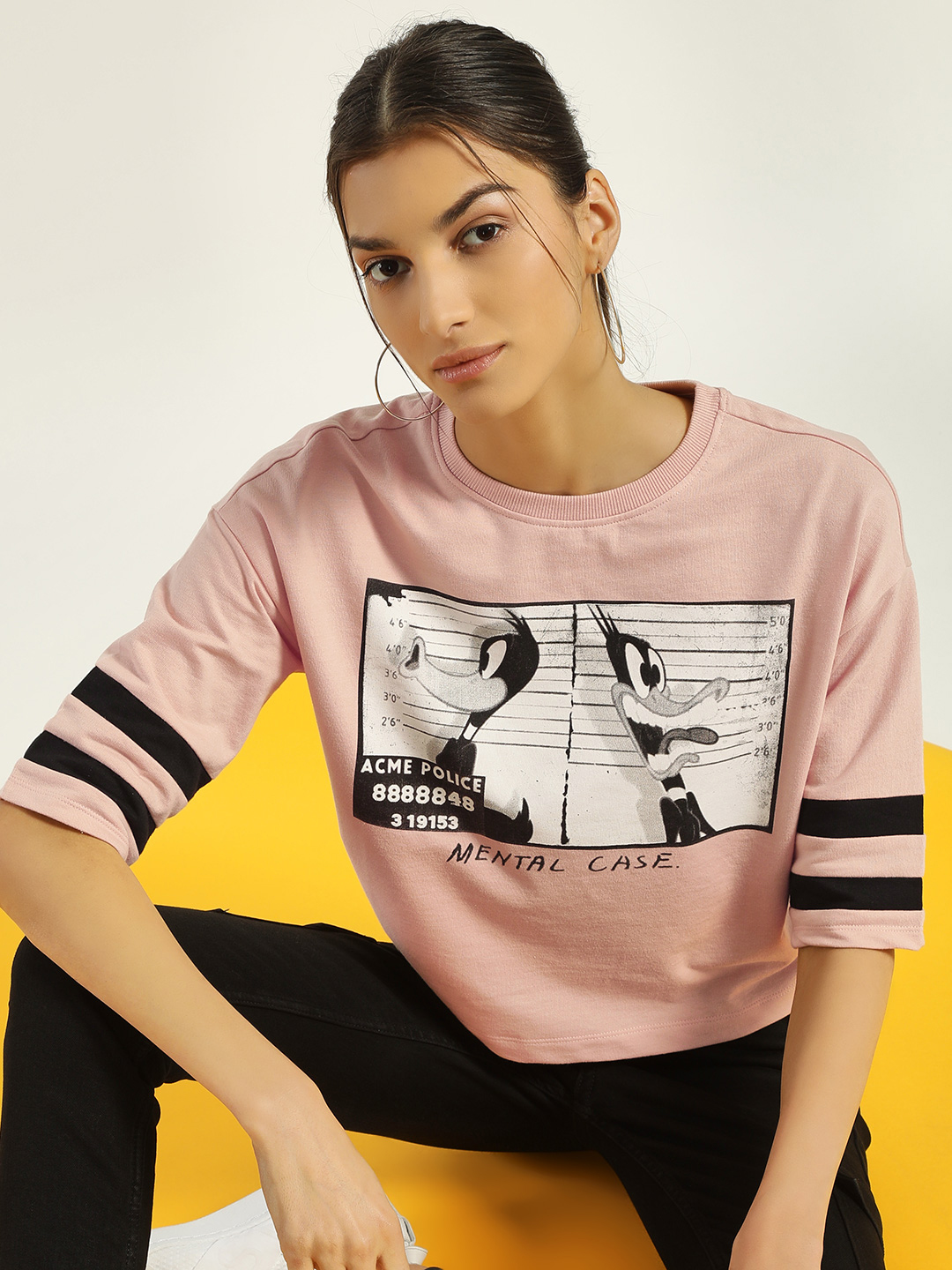 Only Pink Looney Tunes Print Crop T-Shirt 1