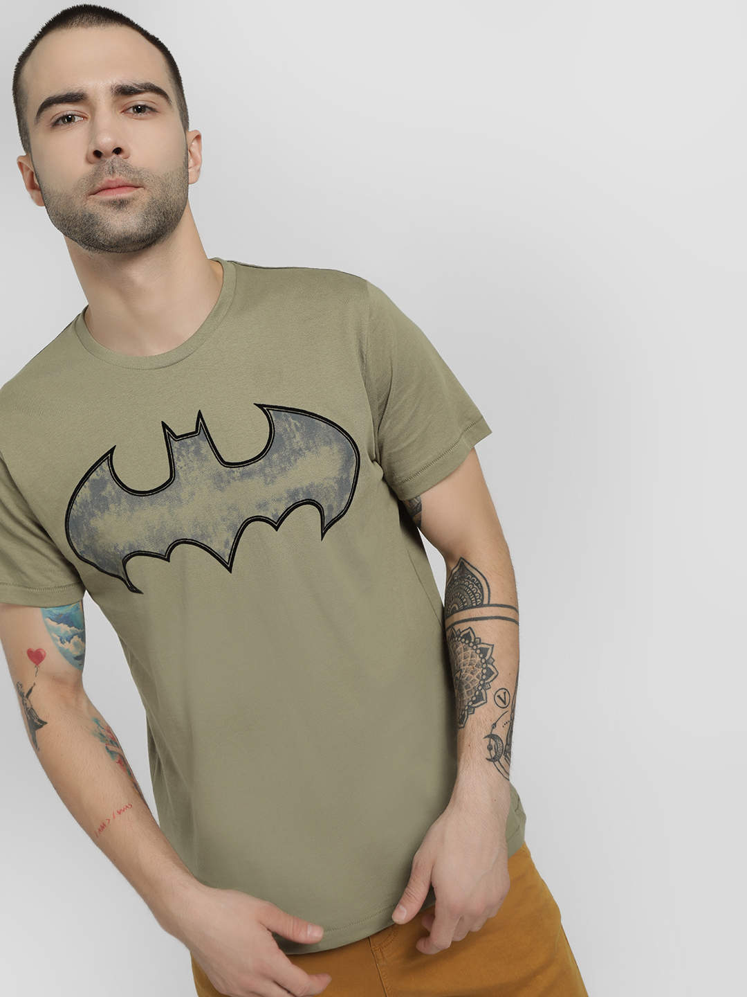 Free Authority Green Batman Logo Print T-Shirt 1