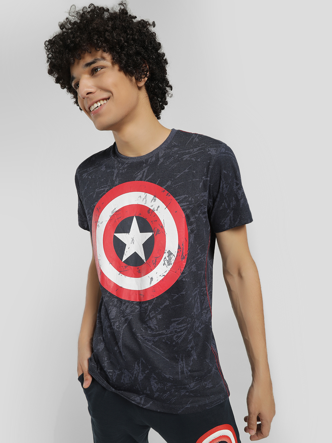Free Authority Blue Large Captain America Logo T-Shirt 1